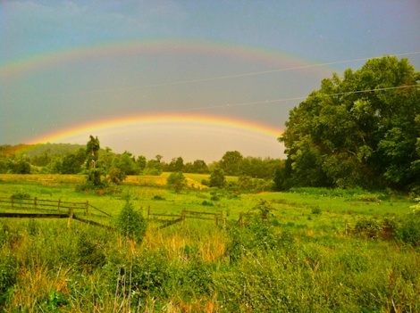 Double rainbow in the Virginia countryside  after the storm. © 2012 EddinsImages